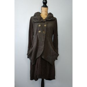 LILITH Brown Button Front Long Cardigan Wool boho